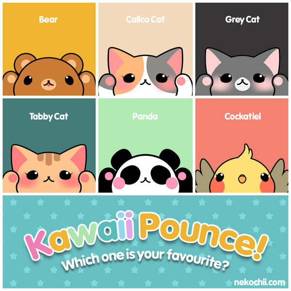 Kawaii Pounce Bear Calico Grey Tabby Panda Cockatiel Cute Animal Series