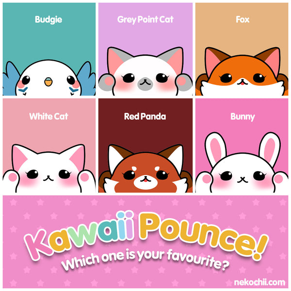 Kawaii Pounce budgie grey point fox white cat red panda bunny cute animal series