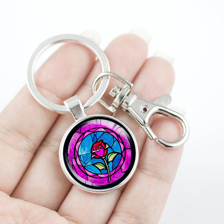 Beauty and Beast Rose Key Chain