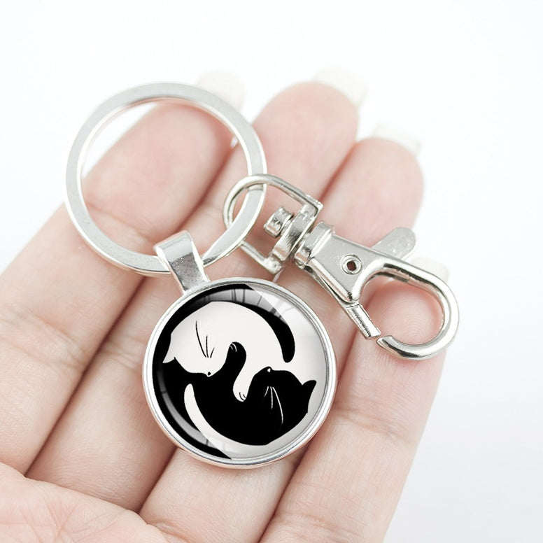 Yin Yang Cat Key Chain
