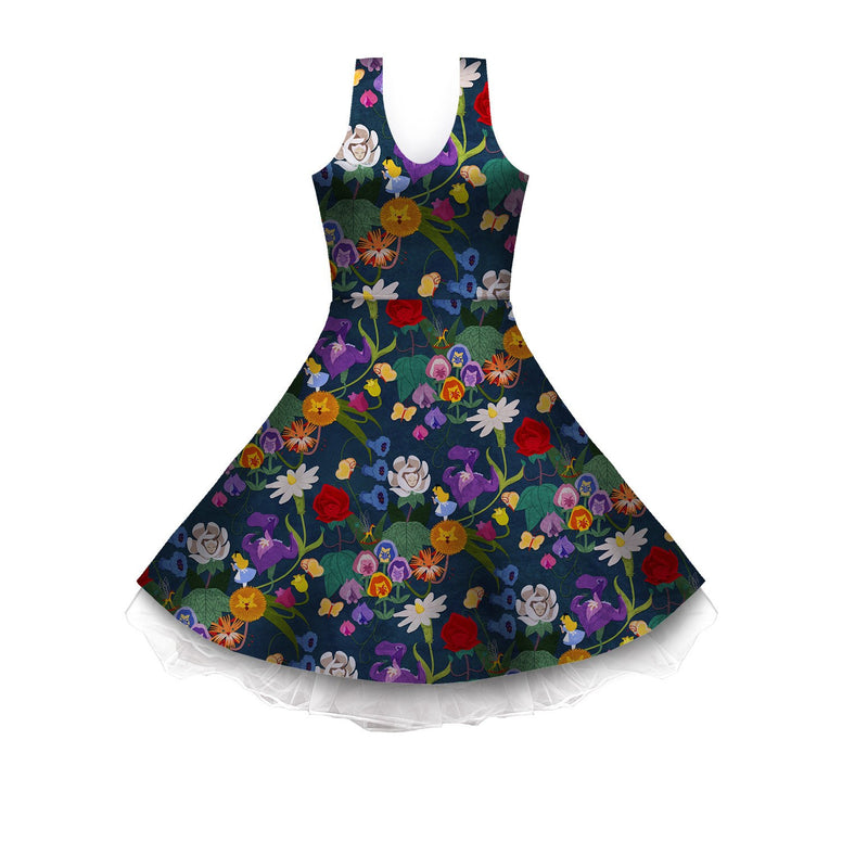 Alice and the Garden of Live Flowers Sleeveless Skater Dress