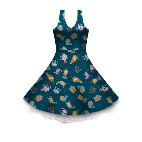 Eeveeatsume Teal Sleeveless Skater Dress