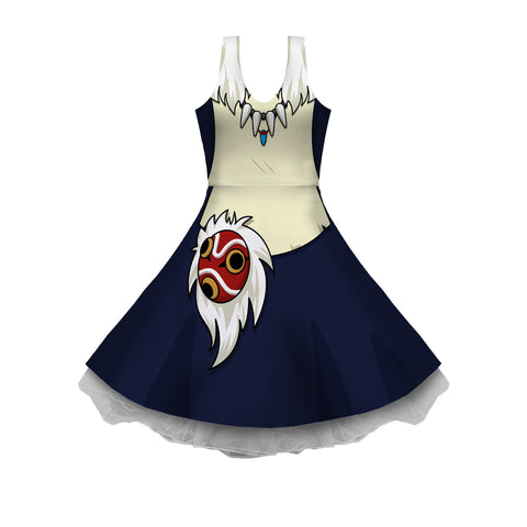 Ghibli Mononoke Cosplay Sleeveless Skater Dress