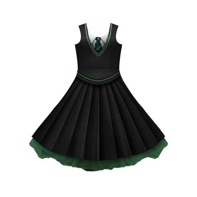 House Green And Silver Uniform Cosplay Skater Dress