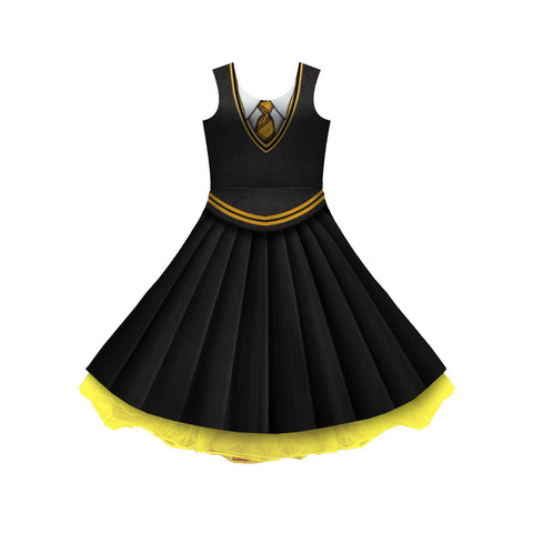 House Yellow And Black Uniform Cosplay Skater Dress