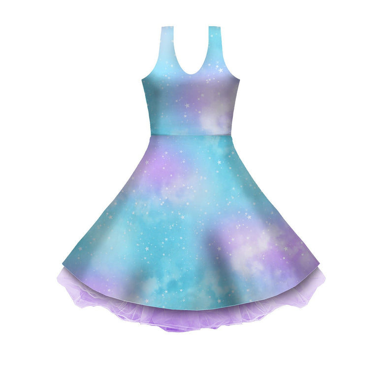 Dreamy Space Blue and Purple Sleeveless Skater Dress
