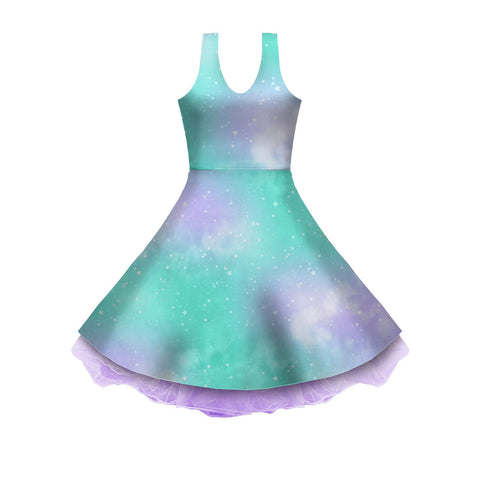Dreamy Space Mint and Purple Sleeveless Skater Dress