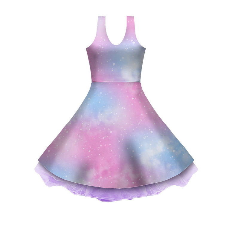 Dreamy Space Pink and Blue Sleeveless Skater Dress