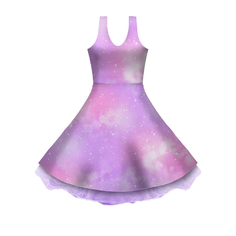 Dreamy Space Pink and Purple Sleeveless Skater Dress