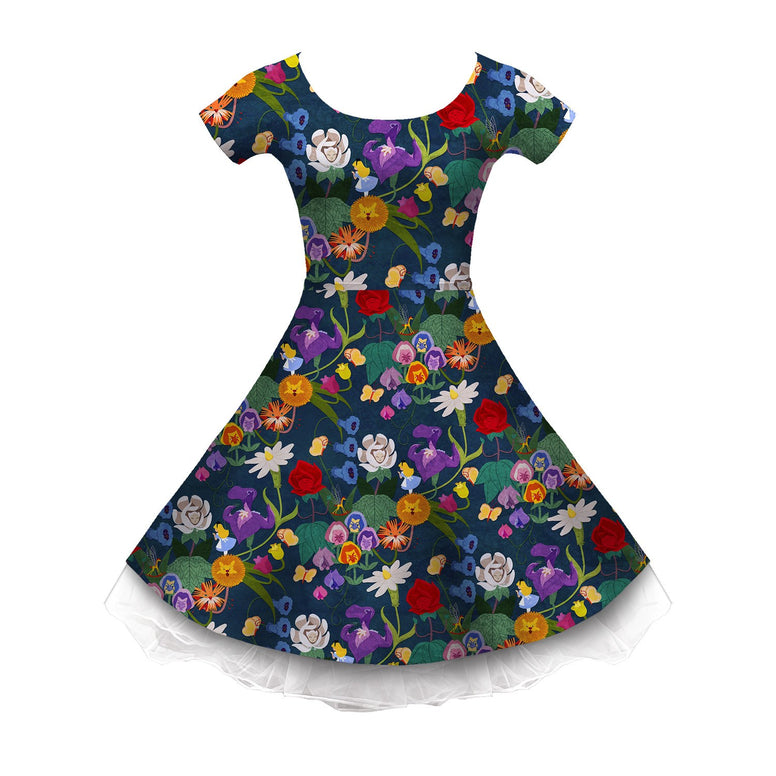 Alice and the Garden of Live Flowers Sleeved Skater Dress