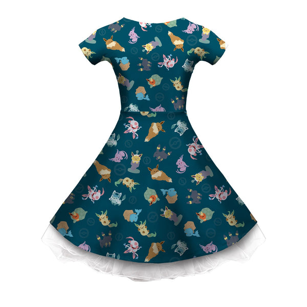 Eeveeatsume Teal Sleeved Skater Dress