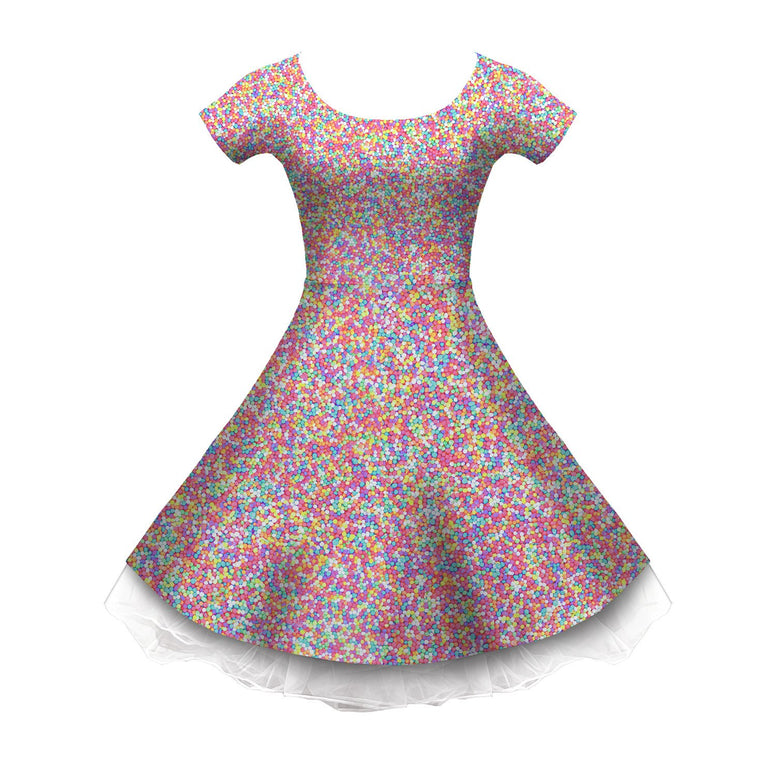 Pastel Hundereds and Thousands Sleeved Skater Dress