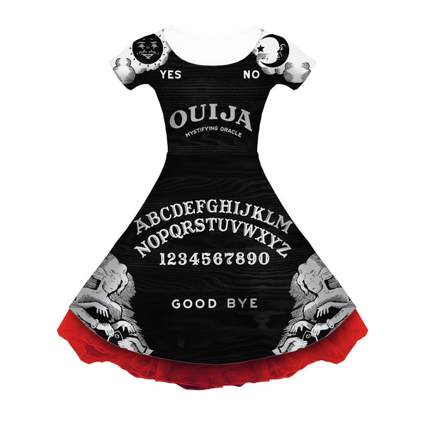Black Ouija Board Sleeved Skater Dress