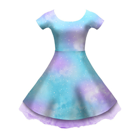 Dreamy Space Blue and Purple Sleeved Skater Dress