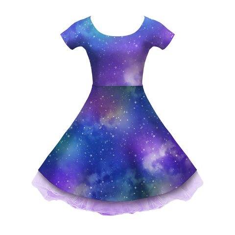 Dreamy Deep Space Sleeved Skater Dress