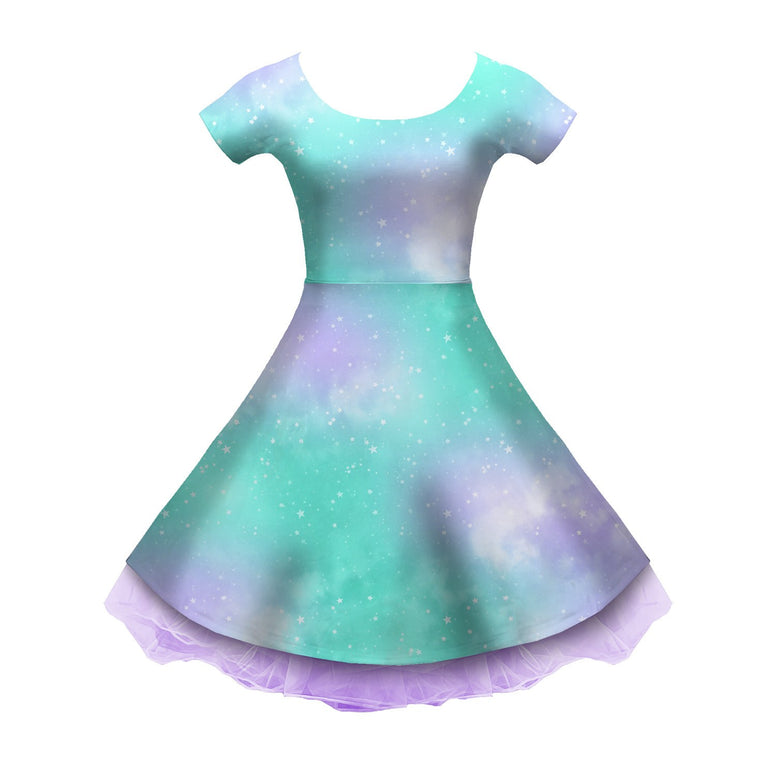 Dreamy Space Mint and Purple Sleeved Skater Dress