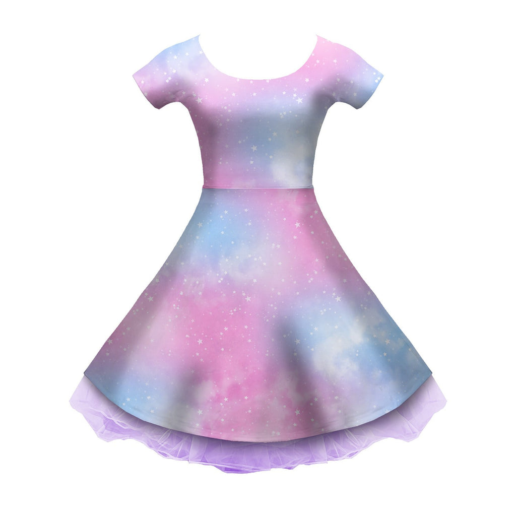 Dreamy Space Pink and Blue Sleeved Skater Dress