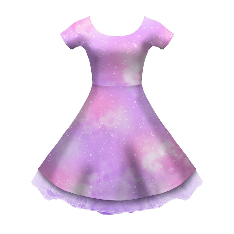 Dreamy Space Pink and Purple Sleeved Skater Dress