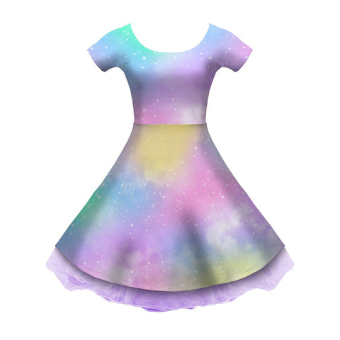Dreamy Rainbow Space Sleeved Skater Dress
