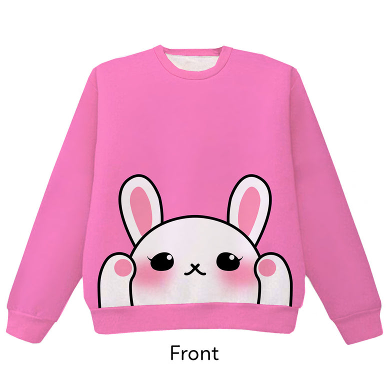 White Bunny Pounce Pullover Sweater