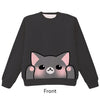 Grey Cat Pounce Pullover Sweater