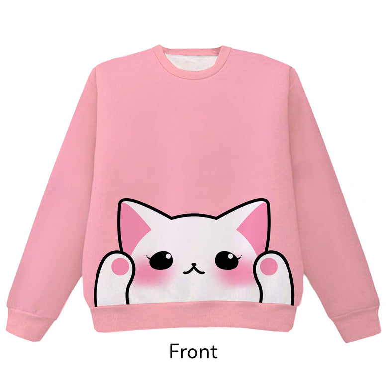 White Cat Pounce Pullover Sweater