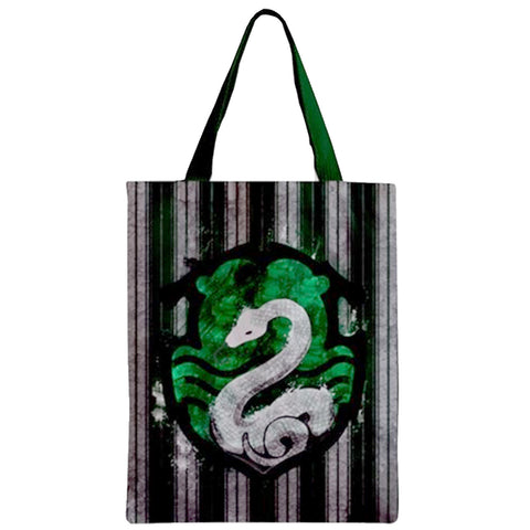 House Green And Silver Zipper Tote