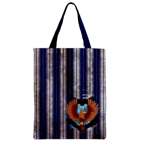 House Blue And Silver Zipper Tote