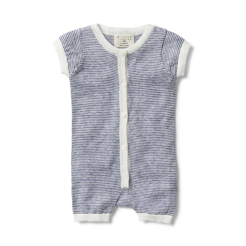 Knitted Short Sleeve Open Front Growsuit - Navy Stripe