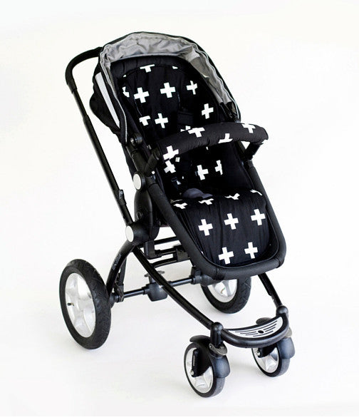 Universal Pram Liner - Black/White Crosses