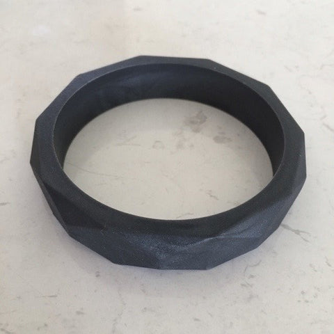 Geo Silicone Teething Bangle Black