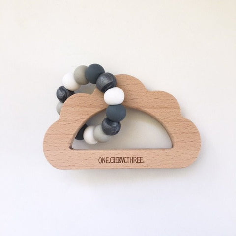 Beechwood and Silicone Cloud Teether - Stormy Grey