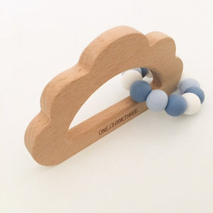 Beechwood and Silicone Cloud Teether - Blue Sky