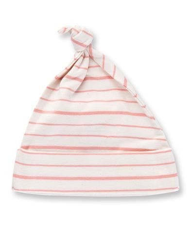 Peach French Striped Knotted Hat