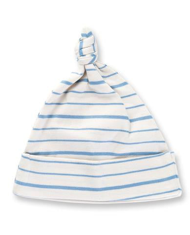 Blue French Striped Knotted Hat