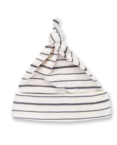 Charcoal French Striped Knotted Hat