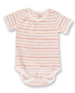 Peach French Striped Short Sleeve Bodysuit