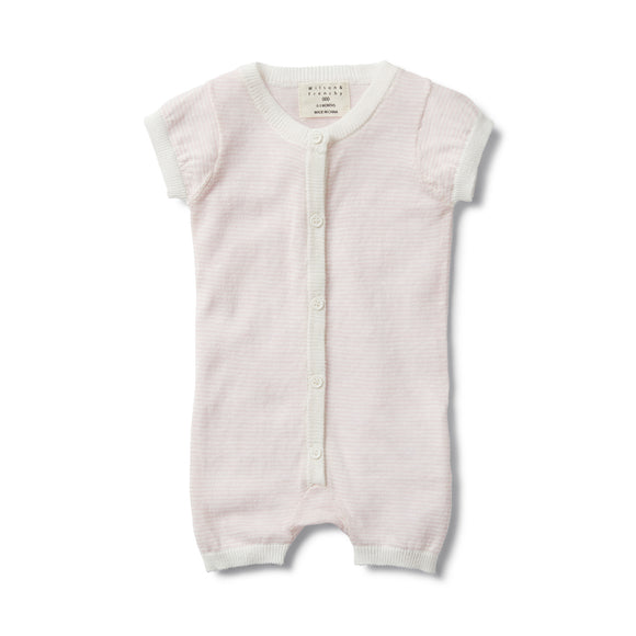 Knitted Short Sleeve Open Front Growsuit - Pretty Pink Stripe