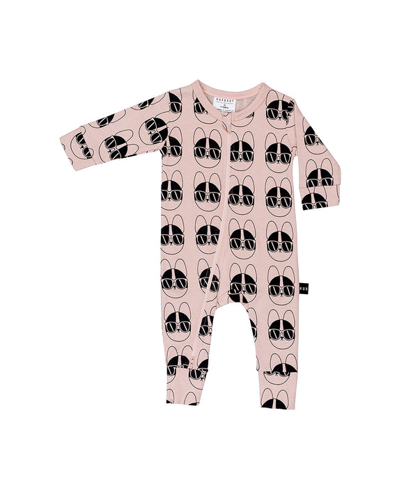 French Shades Zip Romper - Rose Dust