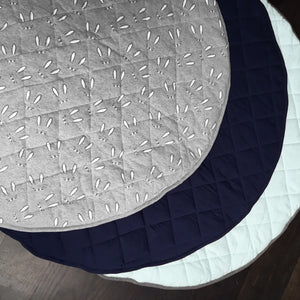 Quilted Navy and Light Grey Reversible Play Mat
