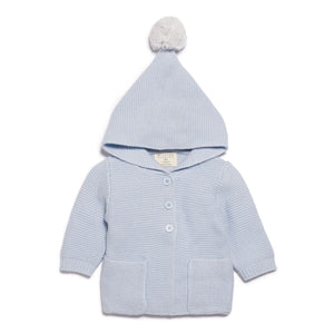 Knitted Jumper with Hood - Cashmere Blue