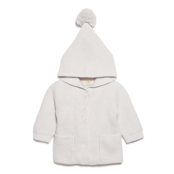 Knitted Jumper with Hood - Glacier Grey