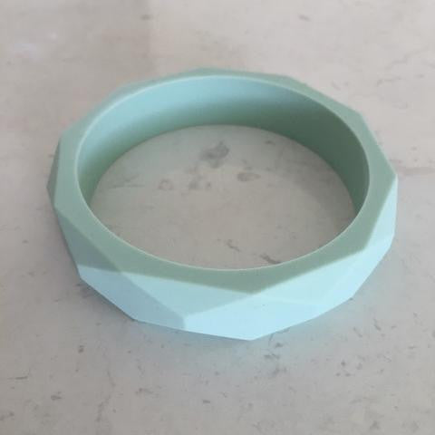 Geo Silicone Teething Bangle Mint