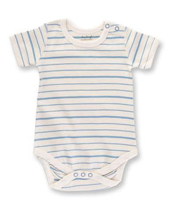 Blue French Striped Short Sleeve Bodysuit
