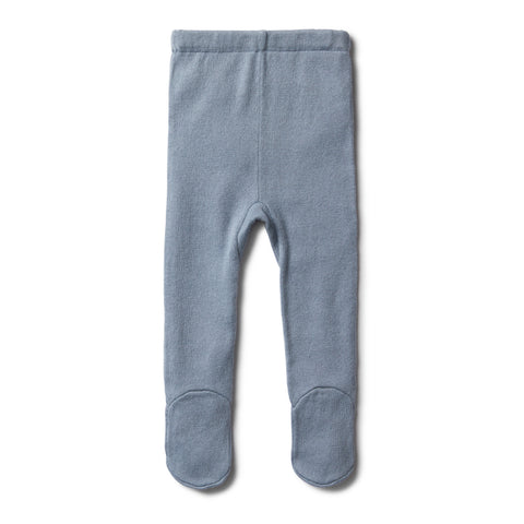 Knitted Leggings with Feet - Dusty Blue