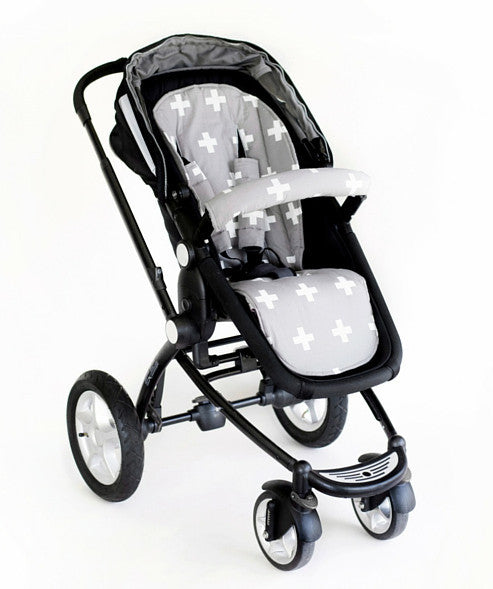 Universal Pram Liner - Grey/White Crosses