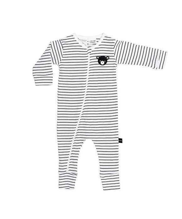 Stripe Zip Romper - Black and White Stripe