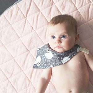 Quilted Pink and Charcoal Reversible Play Mat