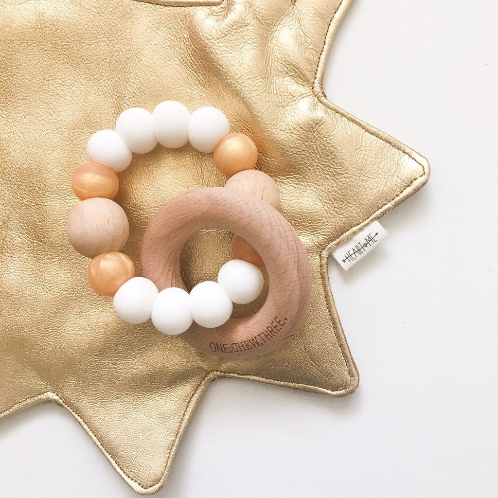 White Silicone and Wood Teether