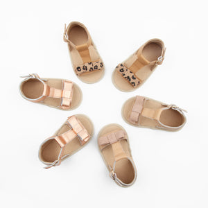 Baby, toddler bow sandals in Rose Gold, Leopard suede & tan, Nude at Sadie Baby